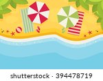 beach flat design background | Shutterstock .eps vector #394478719