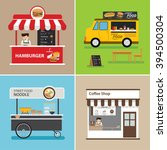 street food shop flat design | Shutterstock .eps vector #394500304