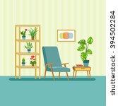 flat retro interior living room ... | Shutterstock .eps vector #394502284