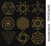 sacred geometry. set of figures ... | Shutterstock .eps vector #394503640