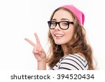 happy girl in cap and glasses... | Shutterstock . vector #394520434