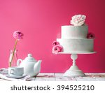 birthday cake with flowers....   Shutterstock . vector #394525210