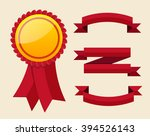 red label with ribbons. vector... | Shutterstock .eps vector #394526143