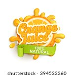 orange juece label splash. blot ... | Shutterstock .eps vector #394532260