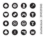 black flat game icon set on...