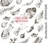 vector meat steak hand drawn... | Shutterstock .eps vector #394544260