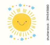 cute sun and stars. vector... | Shutterstock .eps vector #394545880