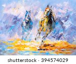 Oil Painting   Running Horse