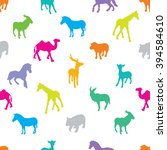 seamless pattern of silhouette... | Shutterstock .eps vector #394584610