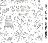 birthday party doodles seamless ... | Shutterstock .eps vector #394593250