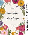 wedding invitation. spring... | Shutterstock .eps vector #394596703