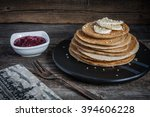 pancakes with raspberry jam and ... | Shutterstock . vector #394606228