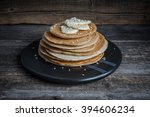 pancakes with banana slices on... | Shutterstock . vector #394606234