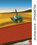 combine harvester and a tiled... | Shutterstock . vector #394608706