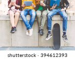 group of teenagers making... | Shutterstock . vector #394612393