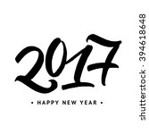 2017 happy new year  hand... | Shutterstock .eps vector #394618648