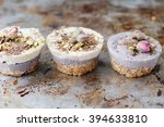 vegan mini cheesecakes  with... | Shutterstock . vector #394633810