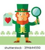 leprechaun with magnifier glass ... | Shutterstock .eps vector #394644550