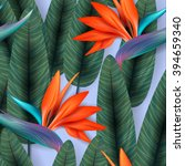 strelitzia pattern. tropical... | Shutterstock .eps vector #394659340
