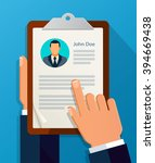 hands hold cv profile. choose... | Shutterstock .eps vector #394669438