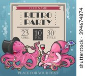 Vector Retro Party Poster With...