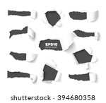 set of holes in white paper... | Shutterstock .eps vector #394680358