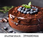 chocolate cake with berries | Shutterstock . vector #394680466