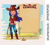 cowgirl with lasso with paper... | Shutterstock .eps vector #394690930