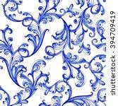 vector blue floral watercolor... | Shutterstock .eps vector #394709419