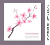 card with blossoming oriental... | Shutterstock .eps vector #394715143