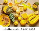 mix of yellow fruits and nuts... | Shutterstock . vector #394719634