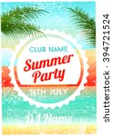 summer party poster flyer... | Shutterstock .eps vector #394721524