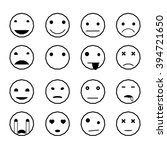 emoticons smile faces black... | Shutterstock .eps vector #394721650