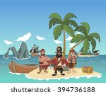 cartoon pirates on a beautiful... | Shutterstock .eps vector #394736188