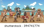group of cartoon pirates on a... | Shutterstock .eps vector #394741774