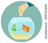 goldfish in aquarium isolated.... | Shutterstock .eps vector #394742344