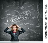 stressed teacher in classroom | Shutterstock . vector #394753456