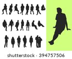 set of sitting and standing... | Shutterstock .eps vector #394757506