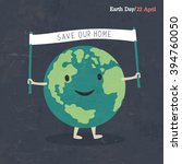 earth day poster. earth cartoon ... | Shutterstock .eps vector #394760050