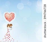 bride and groom in heart shape...   Shutterstock .eps vector #394766728