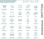 thin line shopping vector...