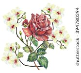 rose color pencil  white orchid ... | Shutterstock . vector #394780294
