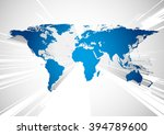 blue world map in perspective | Shutterstock .eps vector #394789600