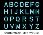 glowing cyan blue neon alphabet ... | Shutterstock .eps vector #394791010
