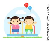kids smiling playing on the... | Shutterstock .eps vector #394794283