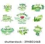 vector set of eco friendly food ... | Shutterstock .eps vector #394801468
