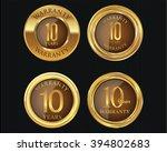 10 years warranty golden labels ... | Shutterstock .eps vector #394802683