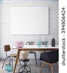 mock up poster frame in hipster ... | Shutterstock . vector #394806424