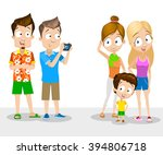 tourists posing and taking photo | Shutterstock .eps vector #394806718