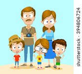 family with three kids having... | Shutterstock .eps vector #394806724